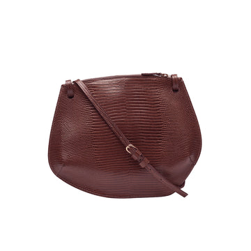 Pebble Crossbody Lizard Embossed Calf Dark Brown