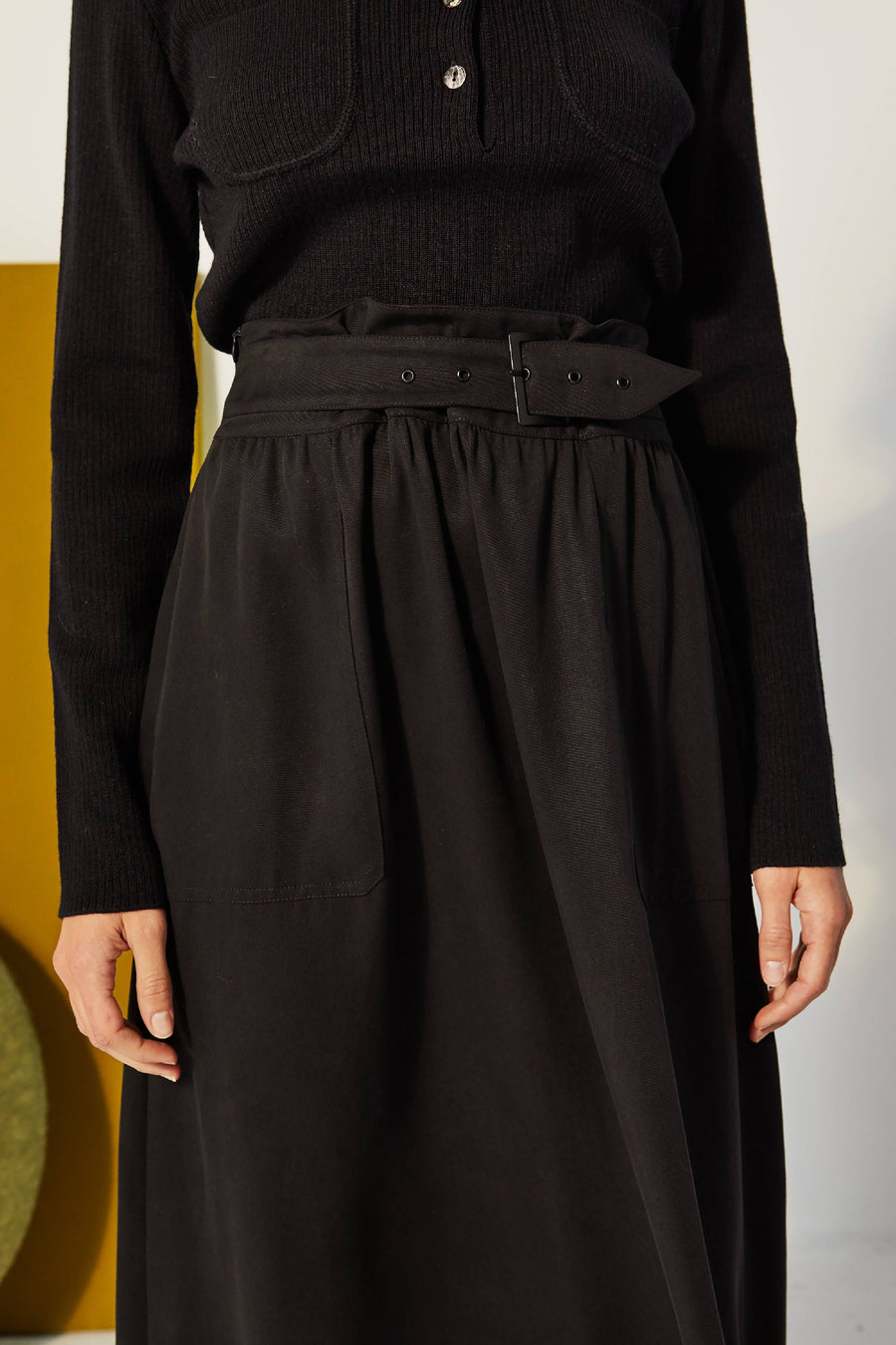 Belted Tencel Skirt Black