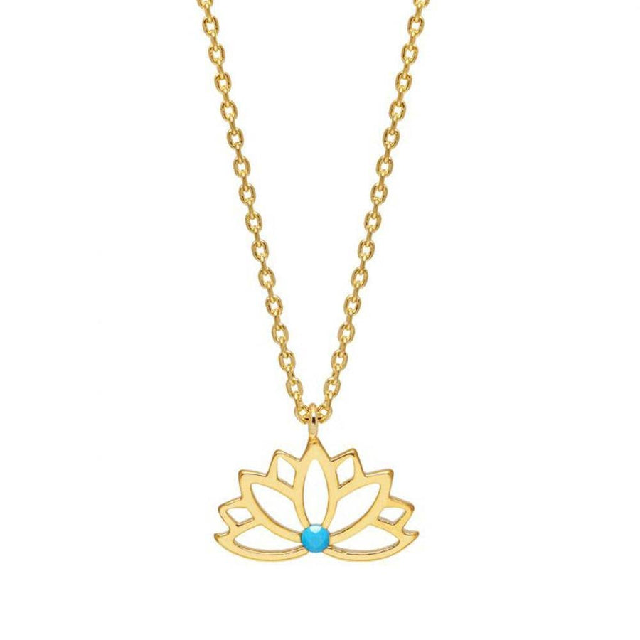 Lotus With Turquoise Stone Necklace GP