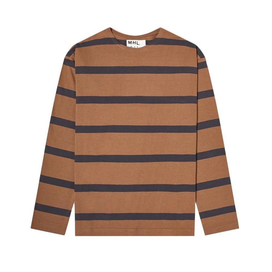 L/S Matelot Wide Stripe Dry Jersey Ginger / Charcoal (Men)
