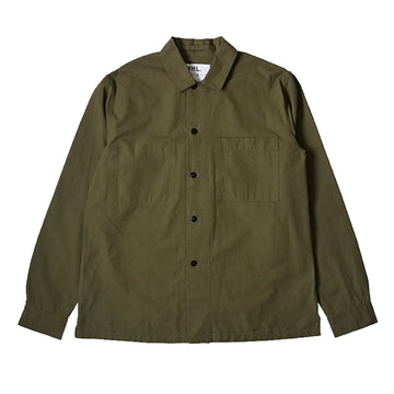 Wide Placket Shirt Dry Selvedge Cotton Khaki (Men)