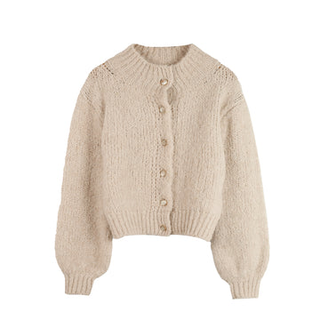 Marlow Chemney-Neck Cardigan Calcaire
