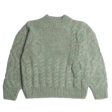 Patchwork Cable Sweater Celadon Green (Women)