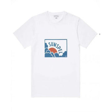 Cotton Sun & Cloud Print T-Shirt in White/ Red