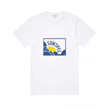 Cotton Sun & Cloud Print T-Shirt in White/ Yellow