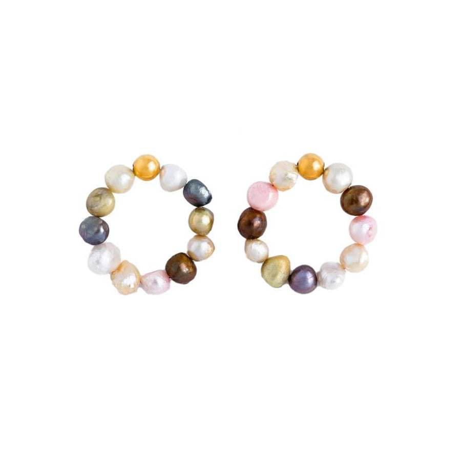 Multi Colors Natural Pearls Hoops Silver
