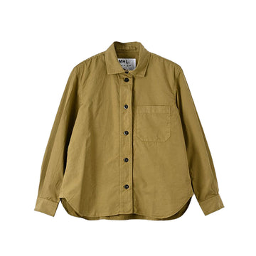 Tab Collar Shirt Compact Cotton Poplin Olive
