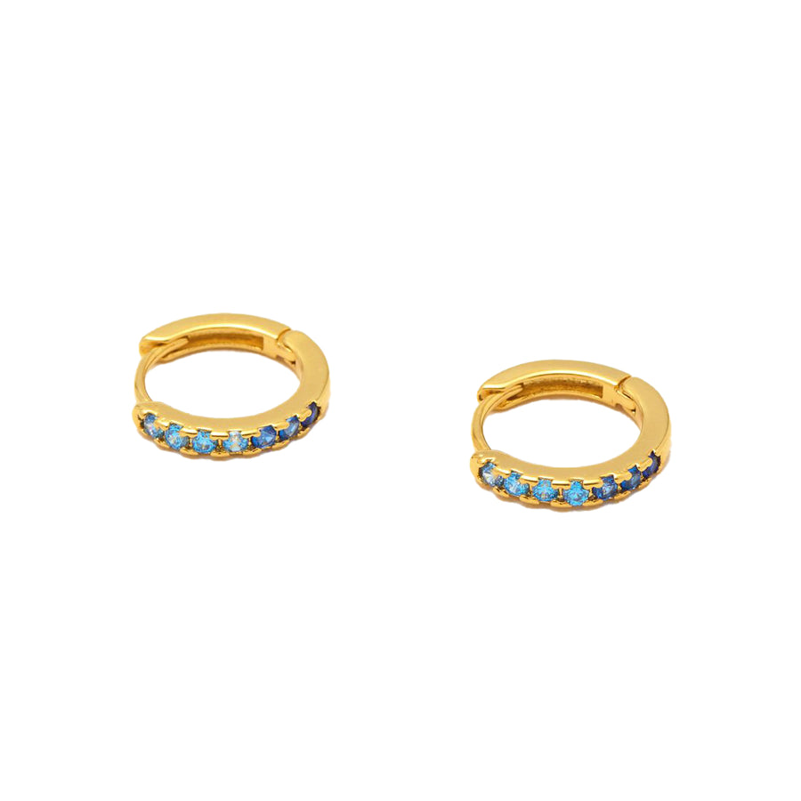 Ombre Blue CZ Hoop Earrings Gold Plated