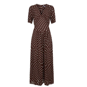 Gathered Tie Waist Dress Chocolate/ Cream