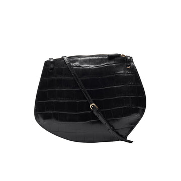 Pebble Crossbody Croc Embossed Calf Black