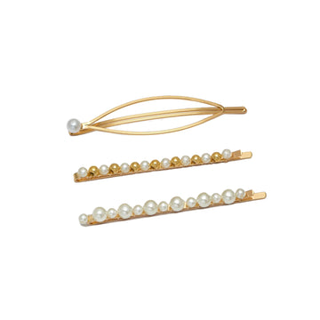 Pearl Trio Hair Slide Set Gold