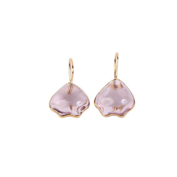 Pop Glamour Petal Shape Pierced Earrings Dark Pink OS