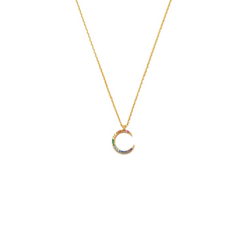 Rainbow Moon CZ Necklace - Gold Plated