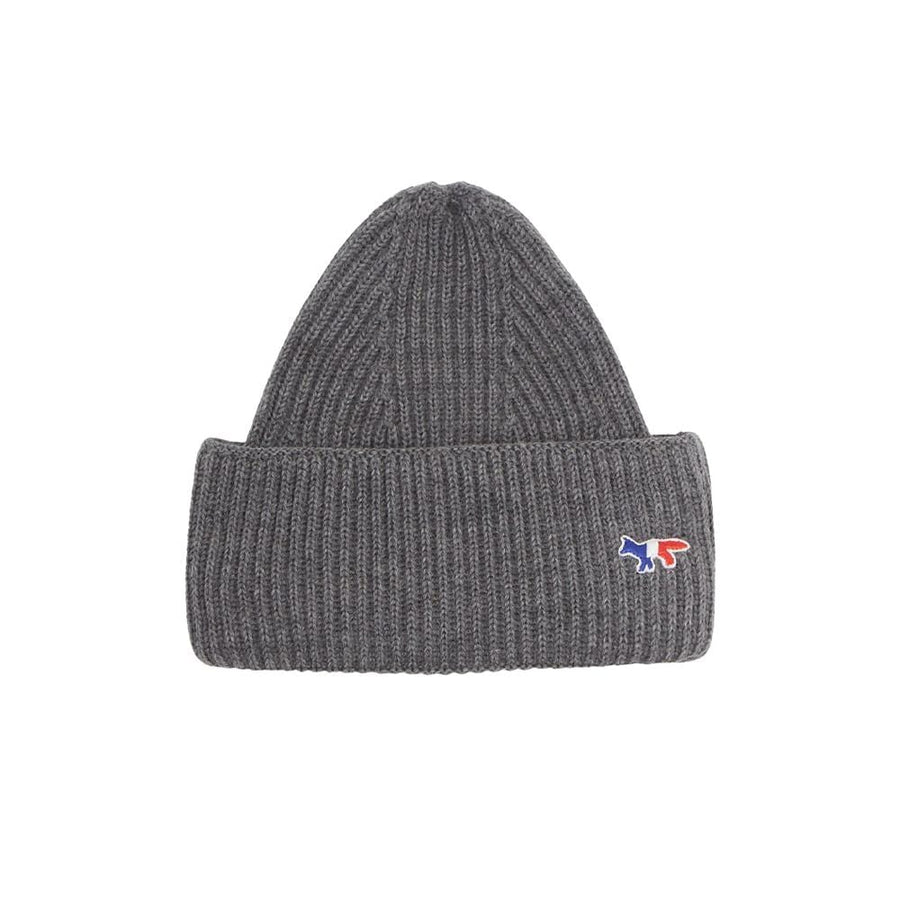 Ribbed Hat Tricolor Fox Patch Grey Melange U