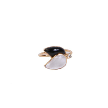 Sea Flower Adjustible Ring With Crystal GP Black A