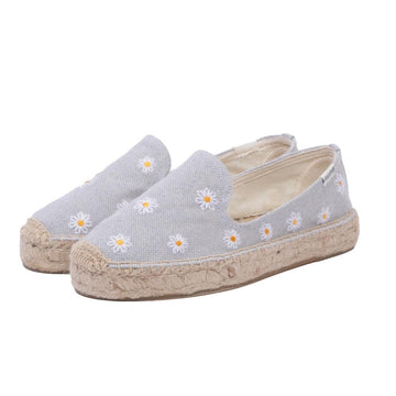 Daisies Embroidered Espadrille Chambray