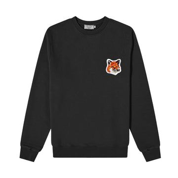 Sweatshirt Velvet Fox Head Patch Classic Black (Unisex)