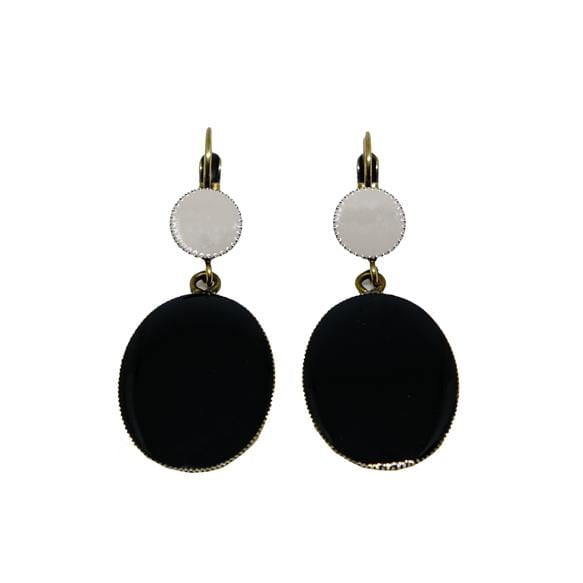 Earrings Enamel W/Ml Oval 335/Nero