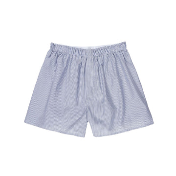 Woven Short White/Navy/Light Blue Pinstripe