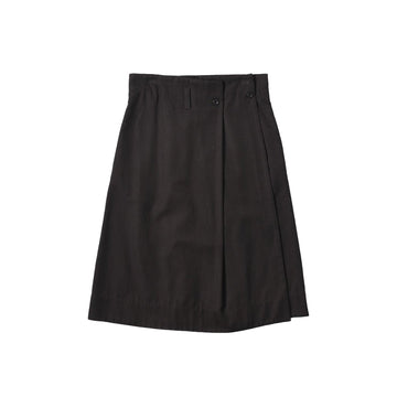 Pleated Wrap Skirt Cotton Wool Drill Peat (Women)