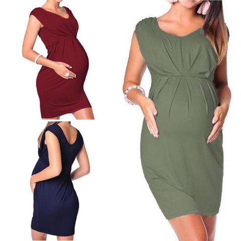 Relaxed Fit High Waisted Maternity Dress
