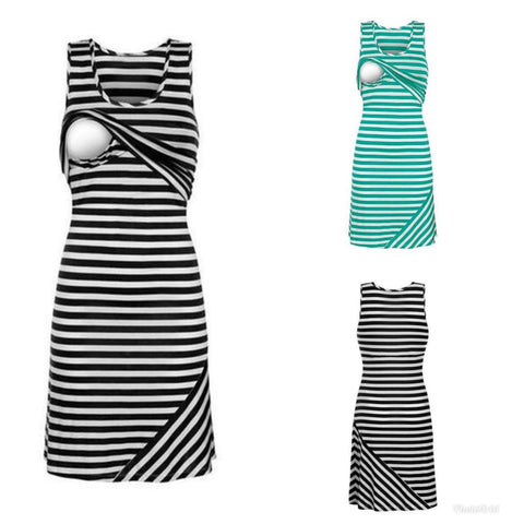 Striped Sleeveless Maternity Nursing Dress