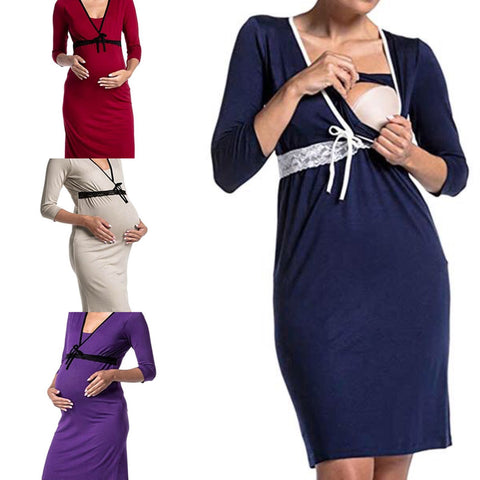 Lace Trim Maternity Nursing Pajama Dress