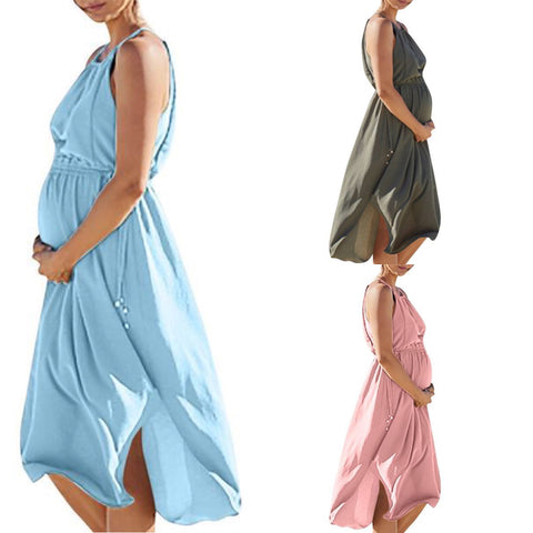 High Waist Linen Maternity Midi Dress