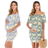White Palm Leaves Maternity Dress