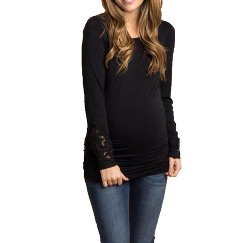 Cutout Detailed Long Sleeve Maternity Top