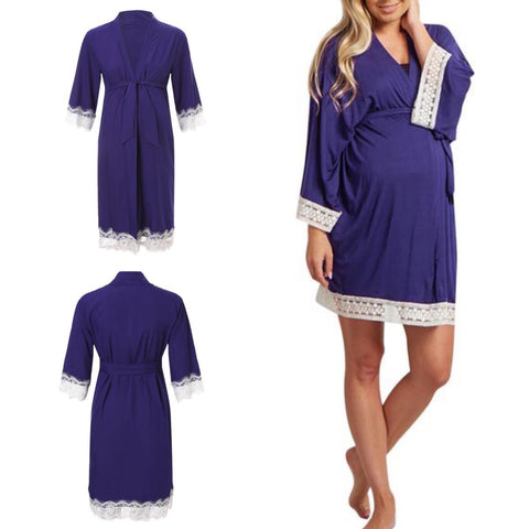 Lace Trim Maternity Nursing Sleep Robe