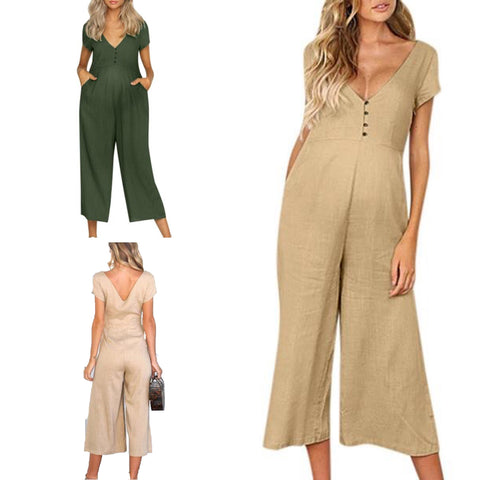 Buttoned Maternity Nursing Jumpsuit