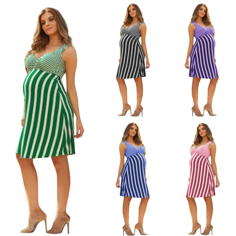 Striped Knee Length Maternity Dress