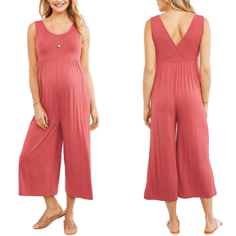 Relaxed Fit Sleeveless Maternity Jumpsuit