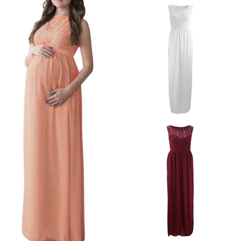 High Waisted Lace Detail Sleeveless Maternity Dress