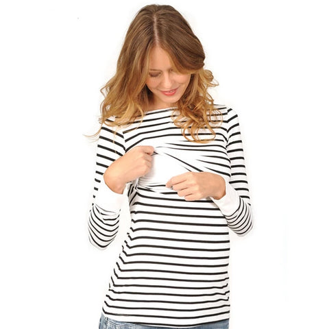 White and Black Striped Maternity Nursing Top