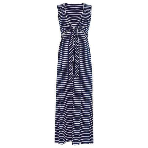 Striped Front Tied Maternity Maxi Dress