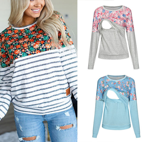 Floral Nursing Sweater Top