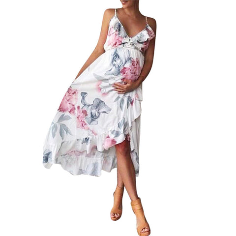 Floral Ruffle Trim Hi-Low Maternity Dress