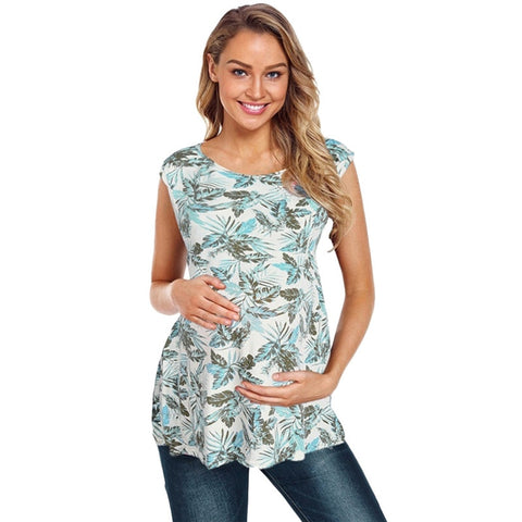 Green Floral Maternity Nursing Top