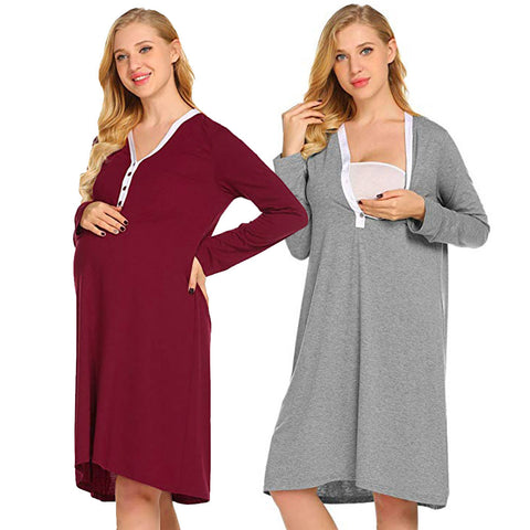 Relaxed Fit Maternity Nursing Pajama Shirt