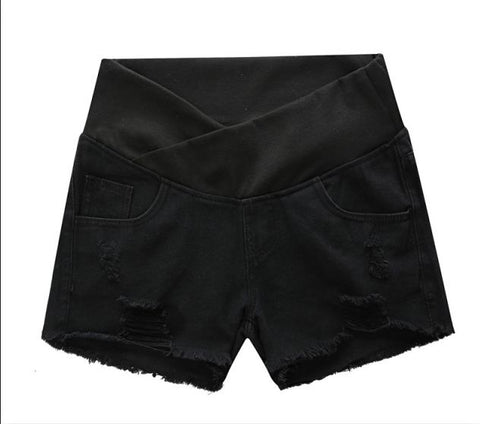 Under Belly Distressed Maternity Shorts