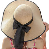 Bow Tie Woven Straw Hat
