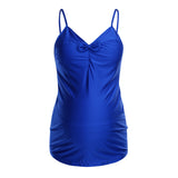 Solid Bow Two Piece Maternity Tankini Swimsuit