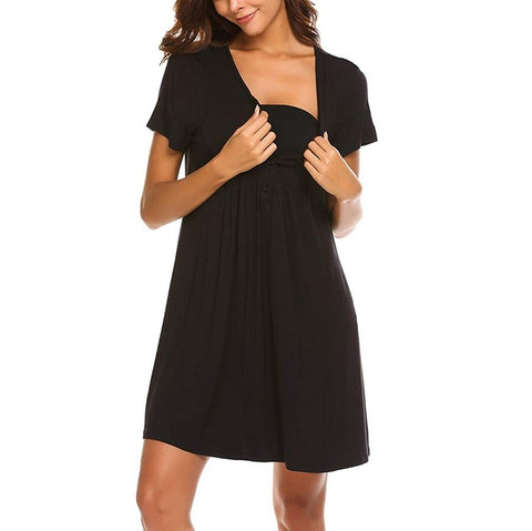 Relaxed Fit Maternity Nursing Pajama Dress