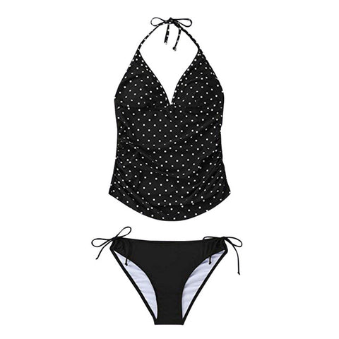 Polka Dot Halter Two Piece Maternity Tankini Swimsuit