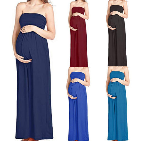 Tube Top Maternity Maxi Dress