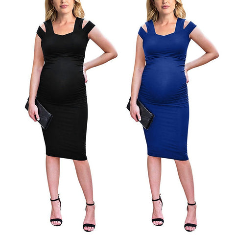 Off Shoulder Ruched Maternity Dress