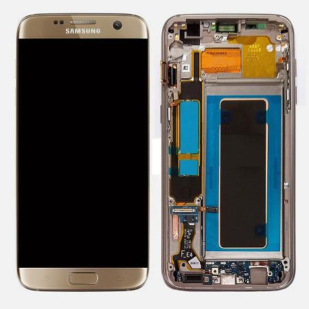 Samsung Galaxy S7 Edge Gold LCD Display Touch Screen Digitizer Frame
