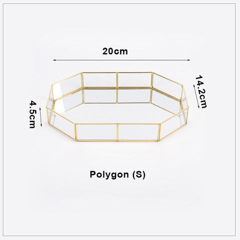 Octagon Gold Mirror Bottomed Tray